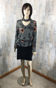 Drape Choker Neck Floral and Checker print top - Sassy Chick Clothing