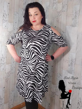 Load image into Gallery viewer, Cold Shoulder Zebra Print Dress - Sassy Chick Clothing