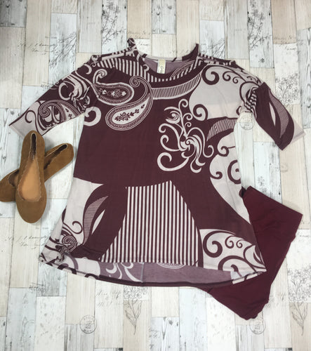Muted Burgundy Paisley Cold Shoulder Top - Red Apple Vixen Boutique