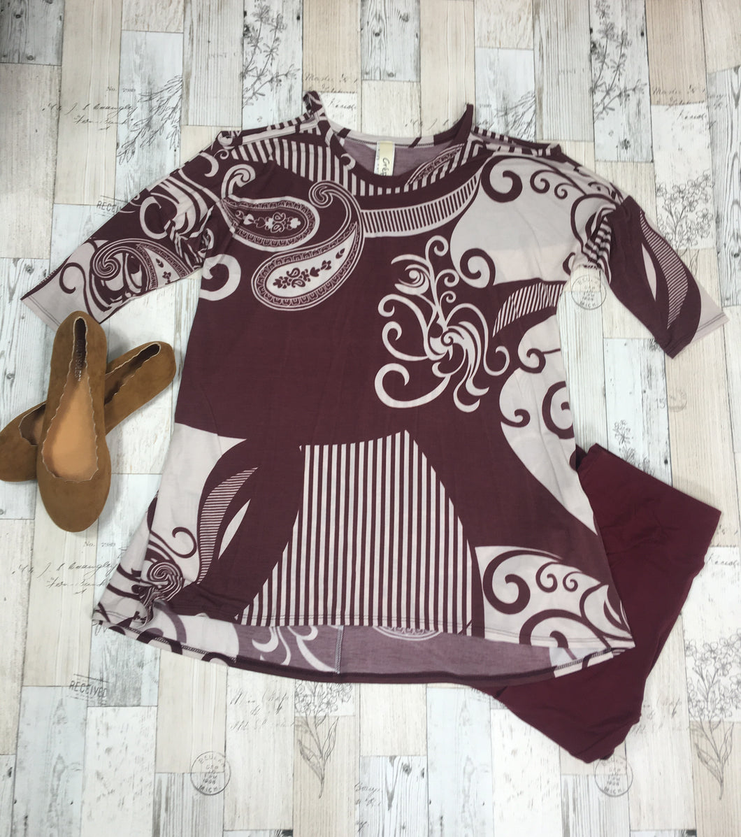 Muted Burgundy Paisley Cold Shoulder Top - Sassy Chick Clothing