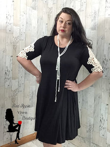 Solid Black Dress with Lace Cut Out Three Quarter Length Sleeves - Sassy Chick Clothing