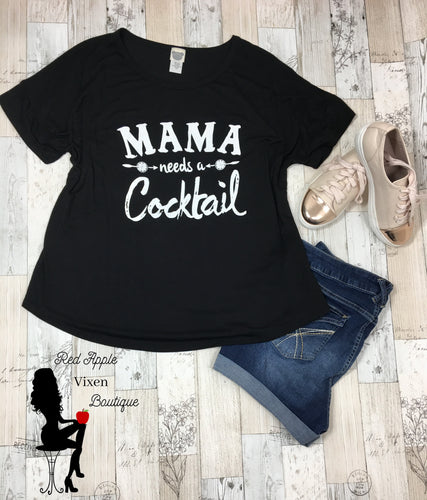 Mama Needs A Cocktail Plus Size Graphic Tee - Red Apple Vixen Boutique