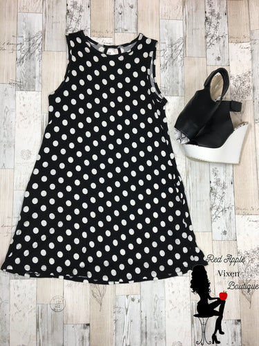Sleeveless Polka Dot Swing Dress - Red Apple Vixen Boutique