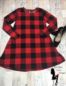 Red and Black Buffalo Plaid Dress - Sassy Chick Clothing