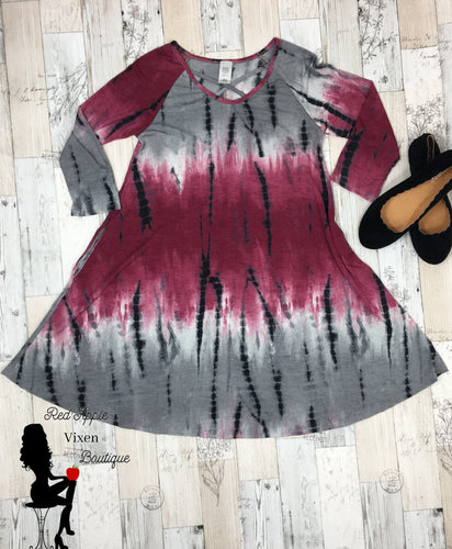 Grey and Raspberry Tie Dye Dress - Sassy Chick Clothing