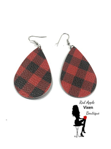 Black and Red Buffalo Plaid Faux Leather Drop Earrings