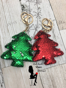 Sequin Christmas Tree Key Ring - Sassy Chick Clothing