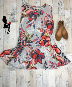 Sleeveless Floral Print Dress - Sassy Chick Clothing