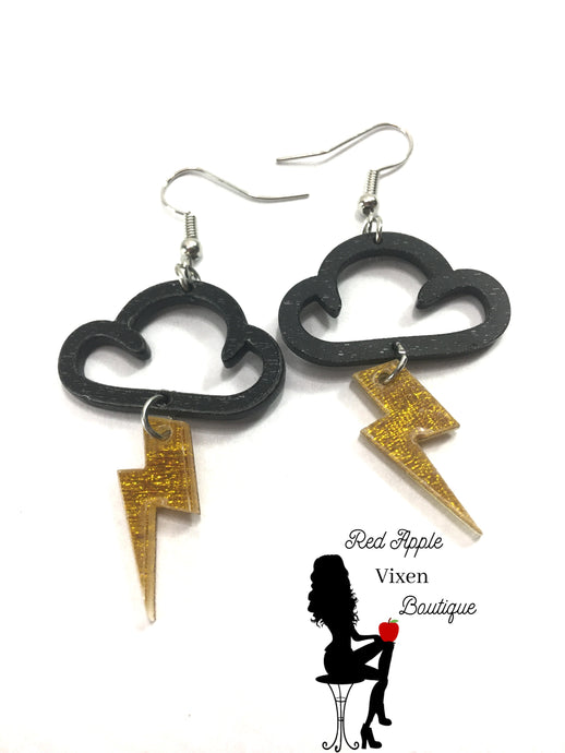 Cloud and Lightening Earrings - Red Apple Vixen Boutique