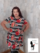 Load image into Gallery viewer, Floral and Stripe Mix Trapeze Dress - Sassy Chick Clothing