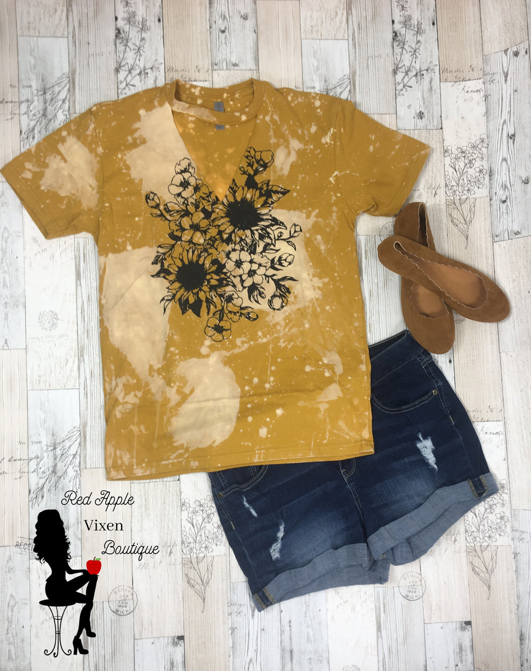 Sunflower Harvest Distressed Tee - Sassy Chick Clothing