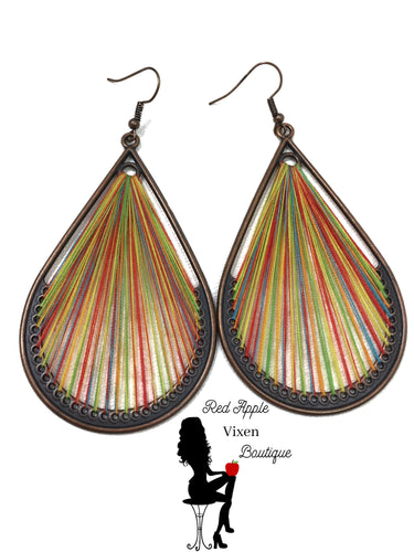 Water Drop Multi Colored Threaded Dangle Earrings - Sassy Chick Clothing