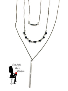 Three Tiered Silver Chain Necklace - Sassy Chick Clothing