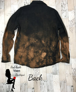 Upcycled Hand Bleached Black Button Up Shirt