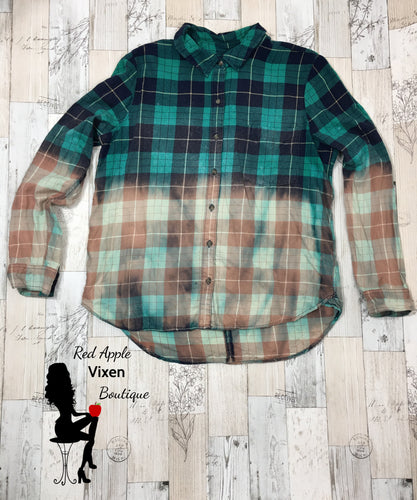 Upcycled Hand Bleached Green and Blue Flannel
