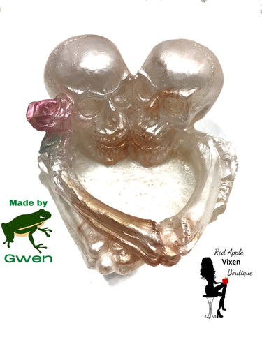 White and Bronze Skull Rose Tea Light Holder