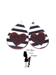 Heart Cut Out Faux Leather Earrings - Sassy Chick Clothing