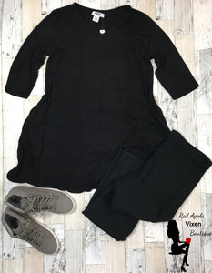 V neck, 3/4 Length Sleeve Tunic with Side Pockets