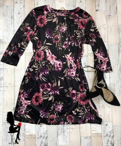 Floral Velvet Dress Only Size 16 Available!!! - Sassy Chick Clothing