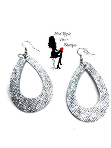 Shiny Silver Snake Skin Print Leather Earrings - Sassy Chick Clothing