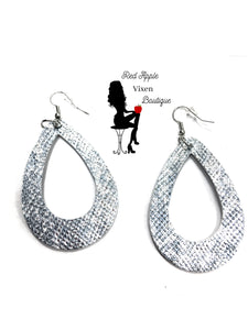 Shiny Silver Snake Skin Print Leather Earrings - Red Apple Vixen Boutique