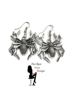 Silver Plated Spider Earrings - Sassy Chick Clothing