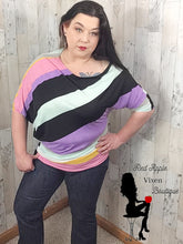 Load image into Gallery viewer, Unbalanced Boat Neck Tunic Lilac Stripe - Sassy Chick Clothing