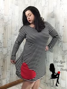Long Sleeve Black and White Striped Heart Dress - Sassy Chick Clothing
