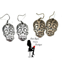 Load image into Gallery viewer, Skull Cut Out Dangle Earring - Red Apple Vixen Boutique