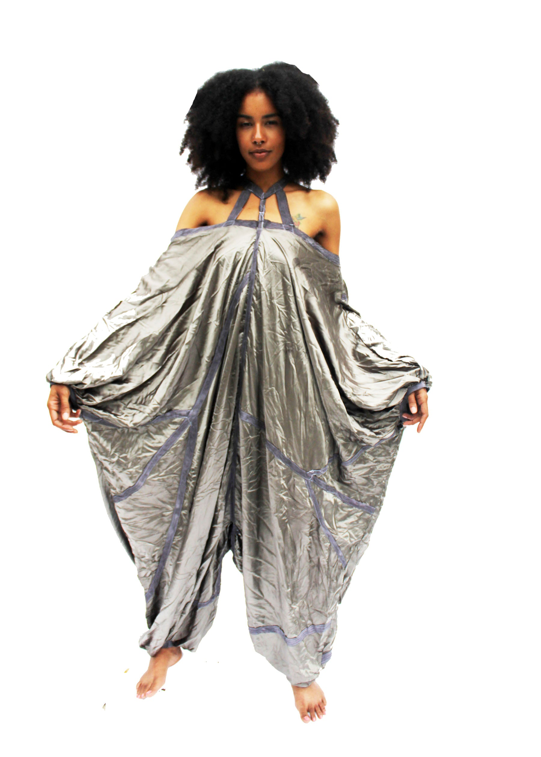 Grey Charmeuse Parachute Jumper