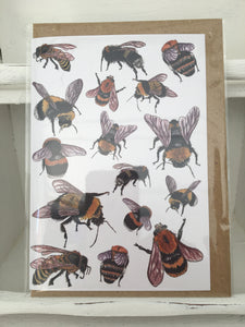 "Alice Draws the Line ""Bees"" Greetings Card"