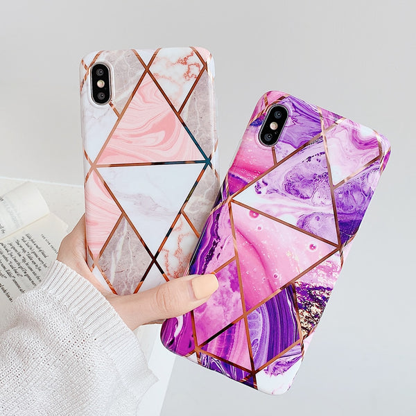 Geometric Marble Texture iPhone Soft IMD Cases