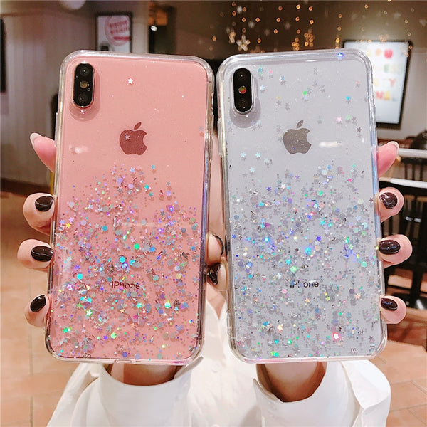 iPhone Glitter Bling Sequins Epoxy Star Transparent Case