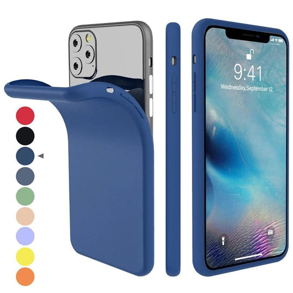 iPhone Silicone Candy Color Built-in Velvet Slim Matte Soft TPU Case