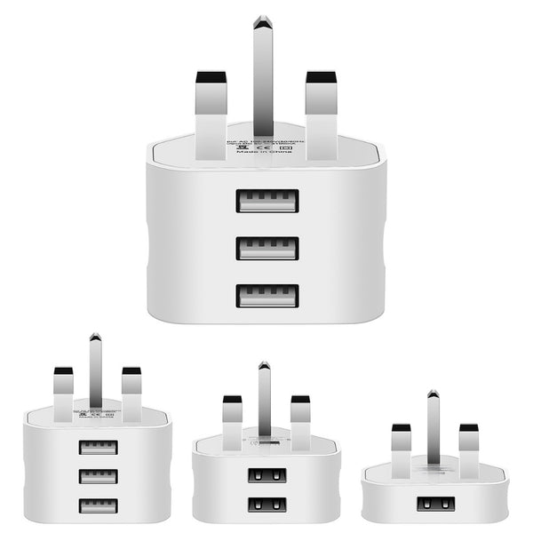 1/2/3-Port USB UK Plug 3 Pin Wall Charger Adapter