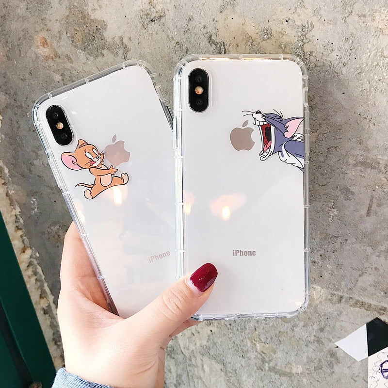iPhone Cute Cartoon Soft Silicone Transparent Case