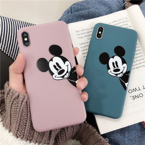Lovely Cartoon Mickey Mouse Matte iphone TPU cases