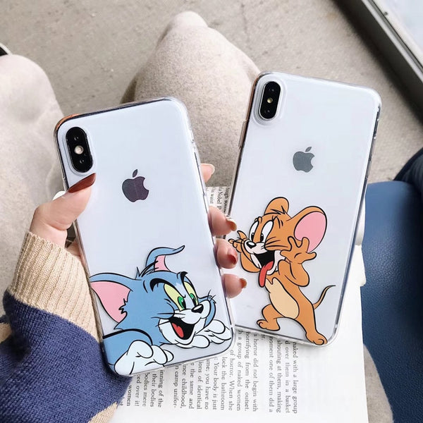 iPhone Cute Cartoon Tom Jerry Transparent soft TPU Cases