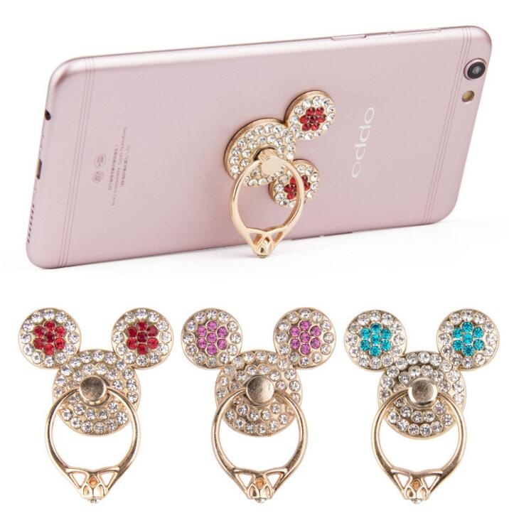 Mickey head diamond ring 360 degrees rotate phone stand