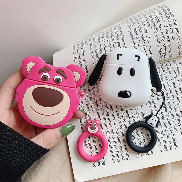 Cartoon Bear Dog Airpods Silicone Case with Key Strap
