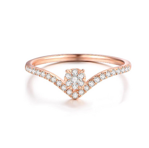 Solid 14K Rose Gold Round DF Moissanite Engagement Ring Band lab Diamond Solitaire Wedding for Women