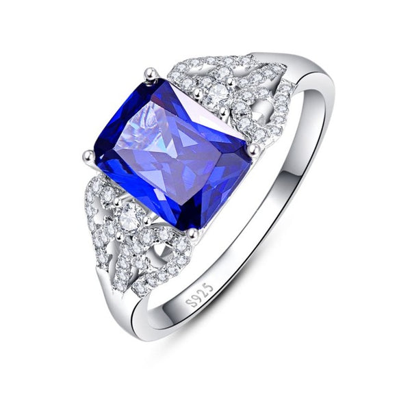 Emerald Cut Engagement Rings Rose Gold - 3 Carats Blue Tanzanite Engagement Ring