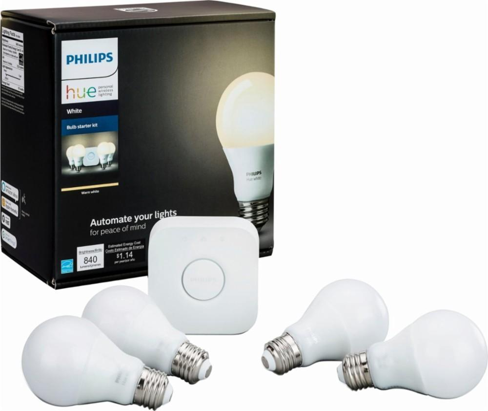Philips - Hue White A19 LED Starter Kit