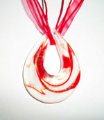 Auburn Female Dragon & Silver Female Dragon Duo – Orange & White Murano Glass Pendant - Autumn Dusk Spirits