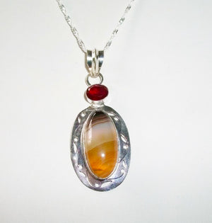 Intimidating Protective RARE Male Cockatrice – Agate and Garnet Pendant - Autumn Dusk Spirits