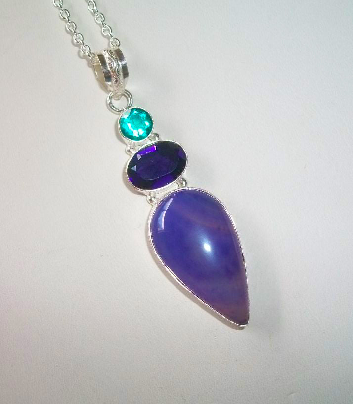 Elder Female Purple/Platinum Dragon – Beautiful Purple Agate and Quartz Pendant - Autumn Dusk Spirits