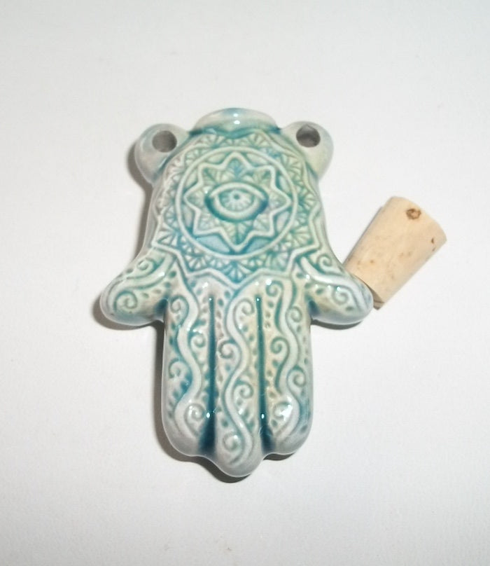 RARE Ruggedly Handsome Male Were-Yeti – Hamsa / Evil Eye Protective Bottle Pendant - Autumn Dusk Spirits