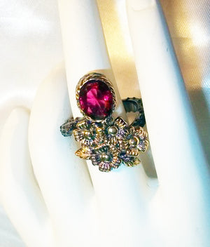 Beautiful Female Romani/Gypsy Witch Werewolf Shifter – Raspberry Pink Black Gold Ring Size - Autumn Dusk Spirits