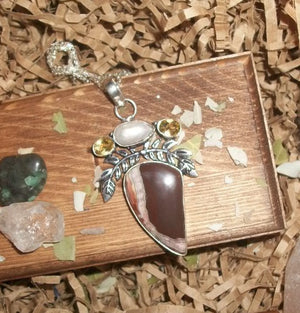Alpha Male Werewolf and Werewolf/Astral Portal –Brown Botswana Agate and Pearl Pendant