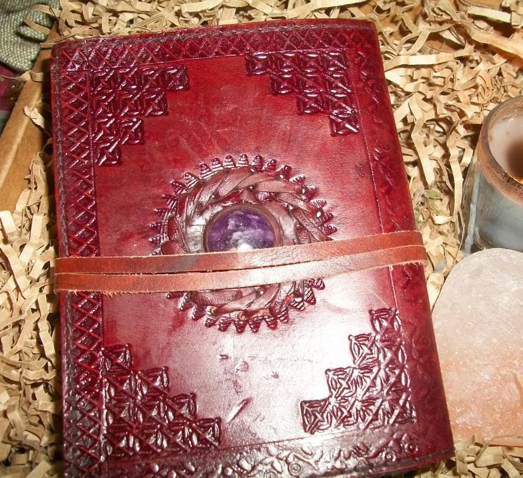 Leather and Stone Journal (BOS, Grimoire) - 2 Color Stones To Choose From - autumn-dusk-spirits